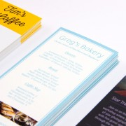 Three glossy and matte rack card examples