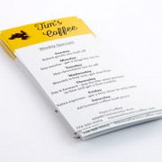 Rack card example for coffee shop specials